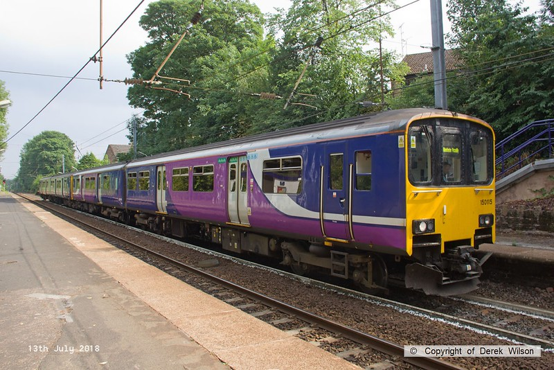 180713-112  Northern class 150 units no's 150115 & 150211 call at Davenport with 2B37, the 15:34 Buxton - Manchester Piccadilly.