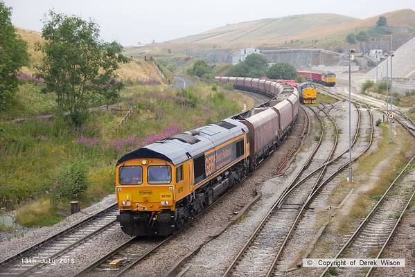 180713-076  GB Railfreight class 66/7 No. 66782 is seen arriving at it's destination with train 4M11, 09:43 Washwood Heath - Peak Forest. To the right are 37716 & 56113, both on shunting duty.