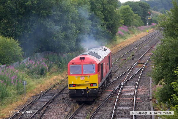 180713-067  DB Cargo class 60 No. 60062 Stainless Pioneer is seen passing Great Rocks Junction, running 'light' from Tunstead to Peak Forest.