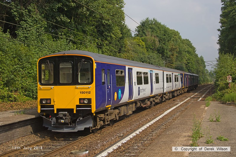 180713-115  Northern class 150 units no's 150120 in unbranded GWR livery & 150112 are seen pulling away from Davenport with 2B34, the 16:11 Manchester Piccadilly - Buxton.