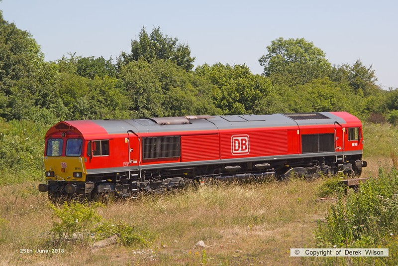 160625-029  DB Cargo class 66/0 No. 66149 waits near the end of the exchange siding at W.H. Davis's, Shirebrook.