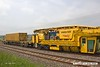 180601-021  Plasser & Theurer VM80/NR Vacuum Ballast Extraction Machine. No. DR76701 & HOBC bogie barrier wagon, type IFA No. 31 70 9301 001-3, seen in the consist of 6Y38, 03:59 Fairwater yard, Taunton - Thoresby Colliery Junction.