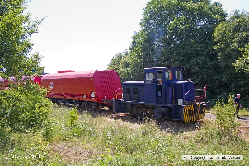 160625-023  Andrew Barclay 0-4-0DH No. 499 transferring modified hoppers from W.H. Davis's wagon works to the top of the branch, for handing over to DB Cargo. The former HTA coal hoppers have been reduced in length and recoded HRA, for further use with aggregates.