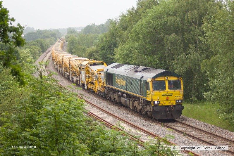 180601-001  Freightliner class 66 No. 66597 Viridor is captured at Ollerton on the High Marnham Test Track, it is heading to Tuxford having arrived as 6Y36, 23:15 Fairwater yard, Taunton - Thoresby Colliery Junction with a HOBC in tow.