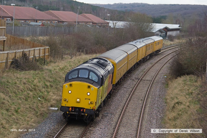 180328-008  Colas Rail Freight class 37 No. 37116 is seen with a test train during calibration on the High Marnham Test Track, DBSO No. 9701 was at the other end.