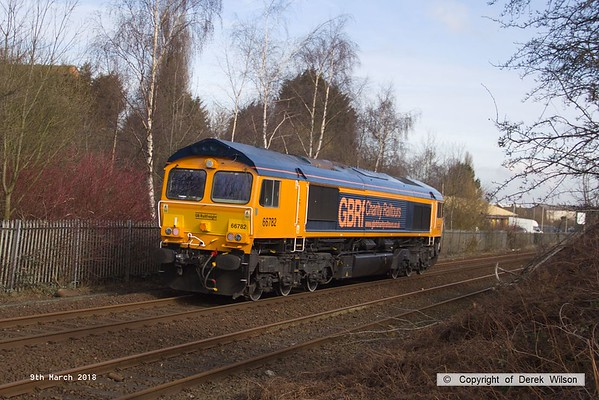 180308-004  GB Railfreight class 66 No. 66782 nearing Tenter Lane Mansfield with East Midlands Trains route learner 0H03, 10:50 Codnor Park Junction - Mansfield Woodhouse. This is ex DBC 66046, which was the first of the ten purchased by GBRf to be released from Arlington Rail Services, in it's new identity.