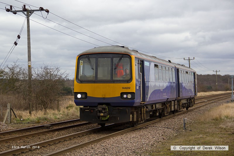 180323-007  Northern class 144 Pacer unit No. 144012 passes Rushey Sidings with 2P21, the 12:27 Lincoln - Sheffield.