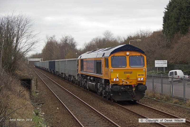 180322-001  GB Railfreight class 66/7 No. 66782 Phil Packer is seen passing Tenter Lane Mansfield, powering train 6E89, 09:22 Wellingborough - Rhylstone.