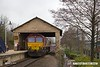 180308-004  Ex DBC class 66 no. 66008, which is now part of the GB Railfreight fleet is seen under the old goods shed on platform three at Mansfield Woodhouse, having just arrived with East Midlands Trains route learner 0H01, 08:34 Etches Park sidings - Mansfield Woodhouse. 66008 is one of a batch of ten 66's purchased by GB and is to be renumbered 66780.
