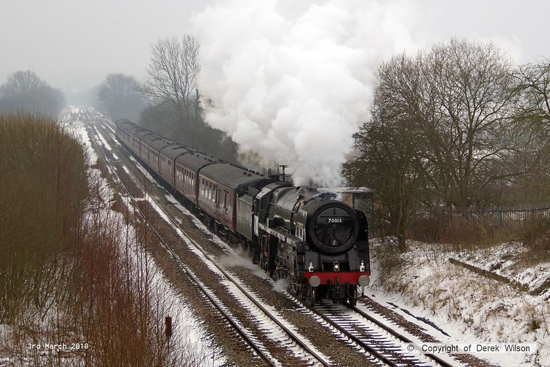 180303-005  BR Britannia 4-6-2 No. 70013 Oliver Cromwell is captured storming away from Alfreton with 'The Yorkshireman'. Seen passing Westhouses with 1Z57, 06:10 Ealing Broadway - York. With it's current boiler ticket about to expire this was it's main line finale, for now.