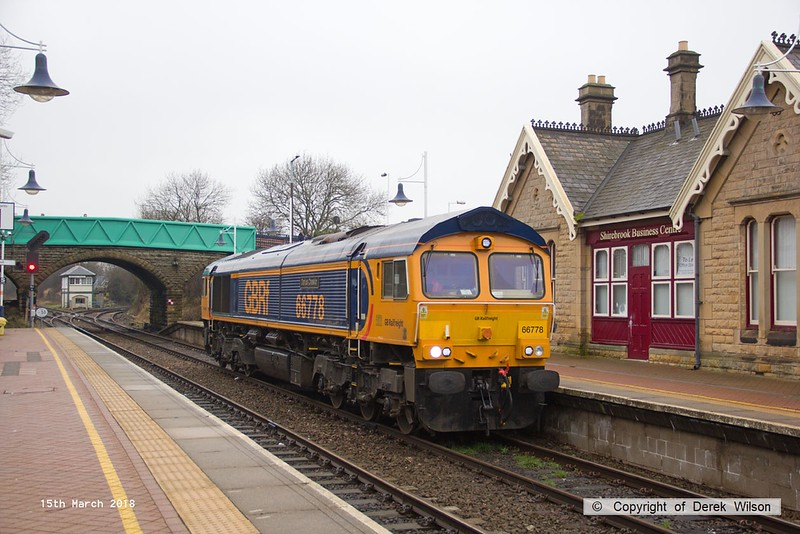 180315-002  GB Railfreight class 66/7 No. 66778 Darius Cheskin is seen arriving at Shirebrook 'light engine' as 0D90, 10:23 Doncaster Down Decoy - Shirebrook (W H Davis).