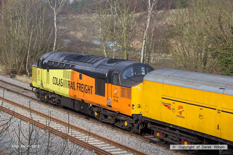 180328-004  Colas Rail Freight class 37 No. 37116 is seen with a test train during calibration on the High Marnham Test Track, DBSO No. 9701 was at the other end.