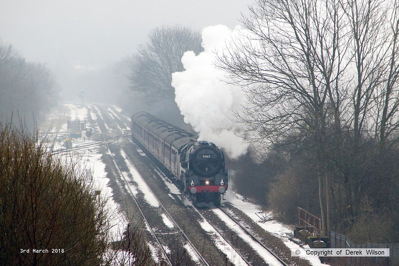 180303-003  BR Britannia 4-6-2 No. 70013 Oliver Cromwell is captured storming away from Alfreton with 'The Yorkshireman'. Seen passing Westhouses with 1Z57, 06:10 Ealing Broadway - York. With it's current boiler ticket about to expire this was it's main line finale, for now.