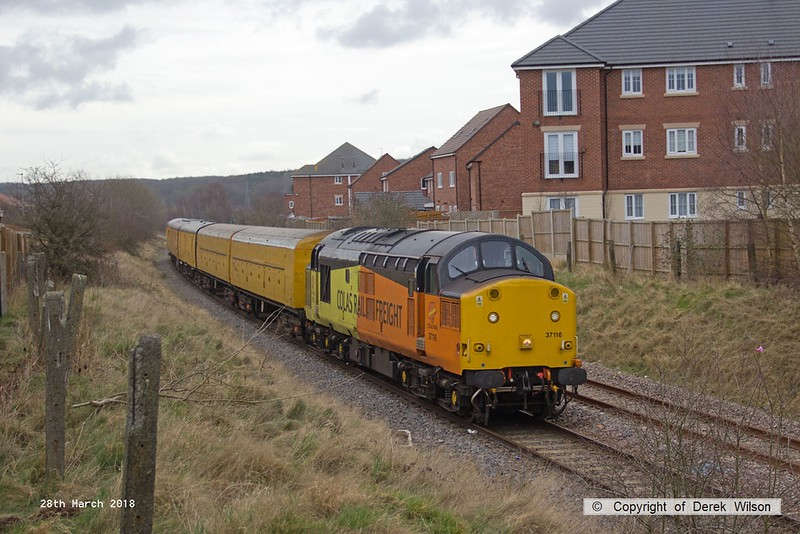 180328-006  Colas Rail Freight class 37 No. 37116 is seen with a test train during calibration on the High Marnham Test Track, DBSO No. 9701 was at the other end.