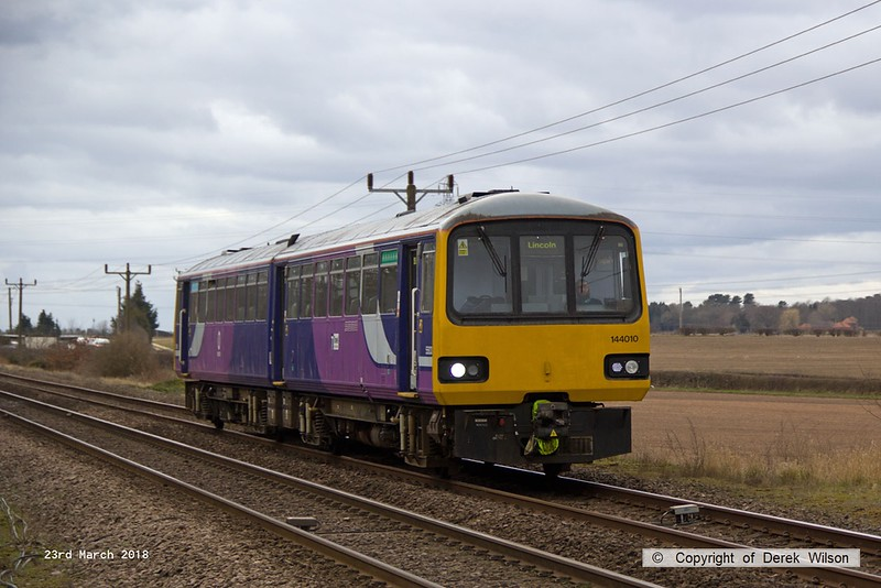 180323-009  Northern class 144 Pacer unit No. 144010 passes Rushey Sidings with 2P67, the 11:19 Scunthorpe - Lincoln.