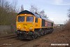 180308-005  GB Railfreight class 66 No. 66782 near Tenter Lane Mansfield with East Midlands Trains route learner 0D04, 11:22 Mansfield Woodhouse - Nottingham Eastcroft. This is ex DBC 66046, which was the first of the ten purchased by GBRf to be released from Arlington Rail Services, in it's new identity.
