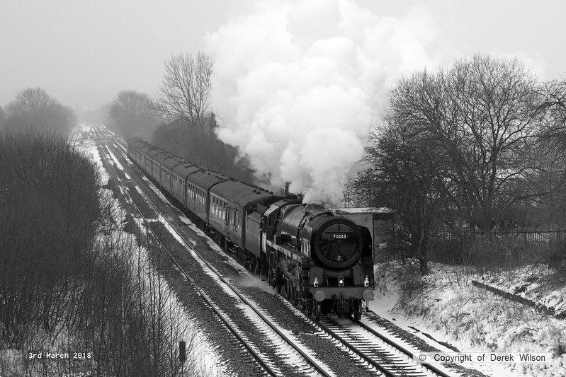 180303-004  BR Britannia 4-6-2 No. 70013 Oliver Cromwell is captured storming away from Alfreton with 'The Yorkshireman'. Seen passing Westhouses with 1Z57, 06:10 Ealing Broadway - York. With it's current boiler ticket about to expire this was it's main line finale, for now.