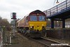 180308-002  Ex DBC class 66 no. 66008, which is now part of the GB Railfreight fleet is seen pulling into platform three at Mansfield Woodhouse with East Midlands Trains route learner 0H01, 08:34 Etches Park sidings - Mansfield Woodhouse. 66008 is one of a batch of ten 66's purchased by GB and is to be renumbered 66780.