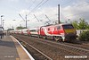 180510-012  Virgin East Coast class 91 No. 91104 passing Retford with 1S05, the 07:00 London King's Edinburgh. This was hauling set number BN10 and restricted to 5mph below line speed due to running on three traction motors plus brake actuator No. 4 isolated.
