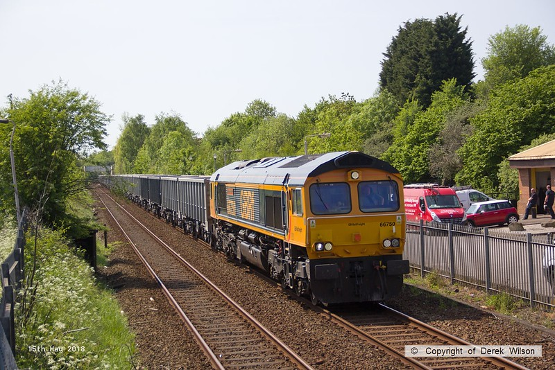 180515-003  GB Railfreight class 66/7 No. 66750 Bristol Panel Signal Box is captured passing Tenter Lane, Mansfield, powering train 6E89, 09:22 Wellingborough - Rylstone.
