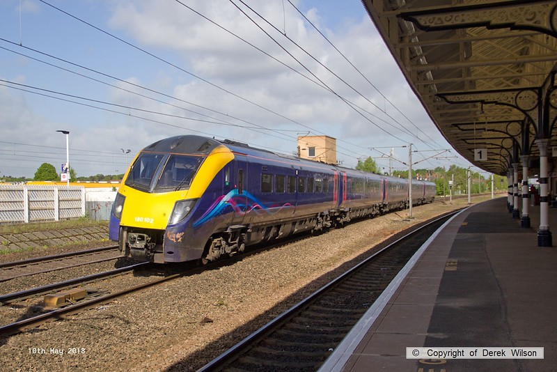 180510-020  Unbranded ex Great Western class 180 No. 180102 is captured passing Retford with Grand Central service 1A70, the 07:54 Bradford Interchange - London King's Cross.