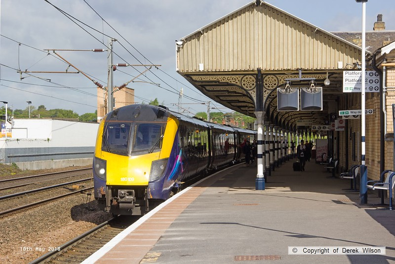180510-018  Hull Trains class 180 No. 180109 is seen in platform one at Retford with 1A92, the 08:23 Hull - London King's Cross.