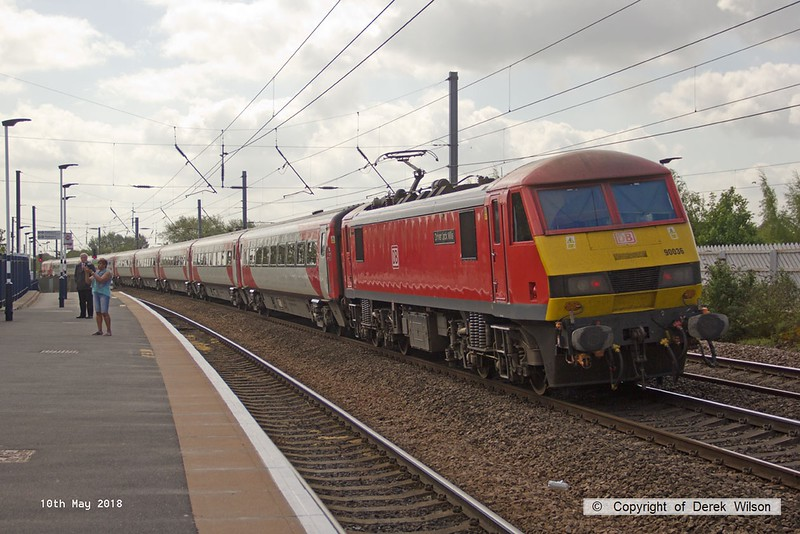180510-024  DB Cargo class 90 No. 90036 Driver Jack Mills on hire to Virgin East Coast speeds through Retford propelling 1A20, the 09:45 Leeds - London King's Cross.