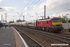 180510-011  DB Cargo class 90 No. 90036 Driver Jack Mills on hire to Virgin East Coast speeds through Retford with 1D02, the 06:30 London King's Cross- Leeds with set No. BN06 in tow.