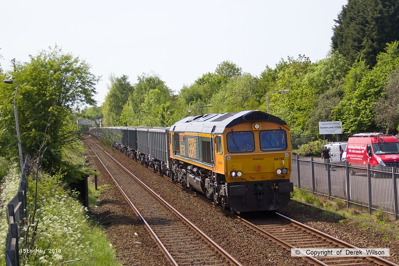 180515-001  GB Railfreight class 66/7 No. 66750 Bristol Panel Signal Box is captured passing Tenter Lane, Mansfield, powering train 6E89, 09:22 Wellingborough - Rylstone.