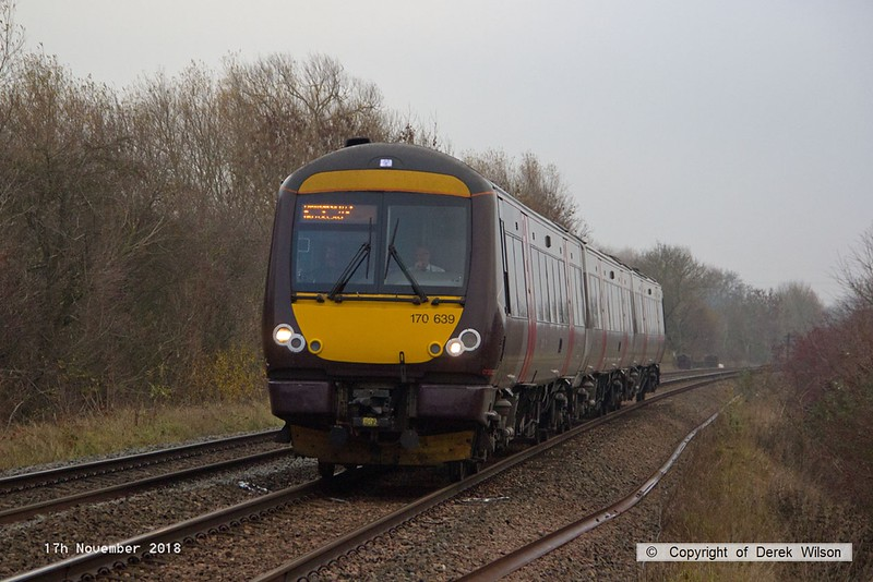 181117-002  Cross Country class 170 unit No. 170639 passing Frisby with 1N43, the 06:27 Stansted Airport - Birmingham New Street.