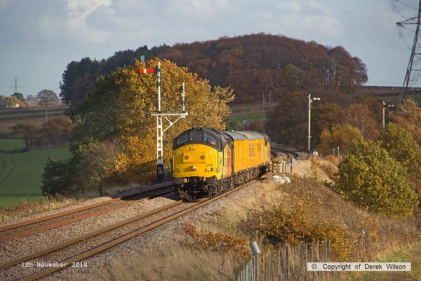 181112-008  Colas Rail Freoght class 37's No's 37254 Cardiff Canton & 37116 are captured passing the former Clipstone junctions, powering (top & tail) test train 3Z11, 15:00 High Marnham - Derby RTC.