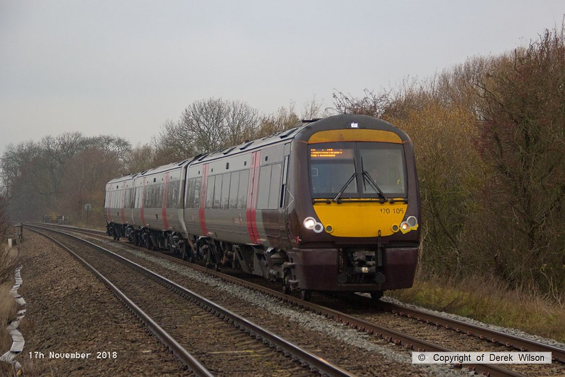 181117-001  Cross Country class 170 unit No. 170105 passing Frisby with 1L30, the 07:22 Birmingham New Street - Stansted Airport.