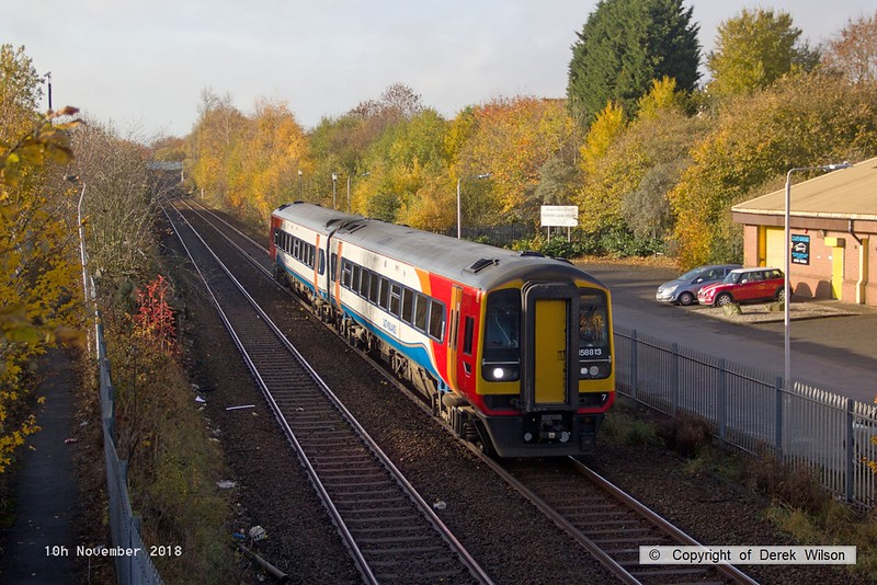 181110-001  East Midlands Trains class 158 unit No. 158813 passing Tenter Lane, Mansfield, forming 2W06, the 09:26 Nottingham - Worksop.