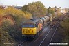 181110-007  Colas Rail Freight class 56's No's 56090 & 56105 are seen in top & tail mode, powering RHTT 3J89, 05:00 Stapleford & Sandiacre - Toton T.M.D.. Captured passing a colourful Tenter Lane, Mansfield.
