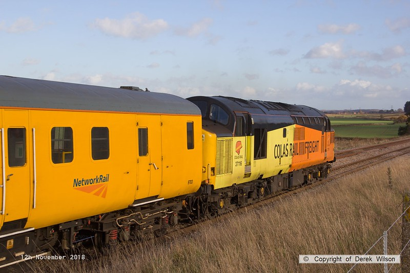 181112-020  Colas Rail Freight class 37 No. 37116 is captured bringing up the rear of test train 3Z11, 15:00 High Marnham - Derby RTC. Seen at Clipstone as it was heading up the branch towards Shirebrook