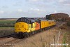 181112-013  Colas Rail Freoght class 37's No's 37254 Cardiff Canton & 37116 are captured passing the former Clipstone junctions, powering (top & tail) test train 3Z11, 15:00 High Marnham - Derby RTC.. Due to signalling problems the train had crawled to a halt, and was  waiting for permission to pass signal at danger.