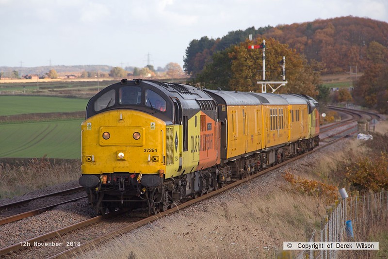 181112-010  Colas Rail Freoght class 37's No's 37254 Cardiff Canton & 37116 are captured passing the former Clipstone junctions, powering (top & tail) test train 3Z11, 15:00 High Marnham - Derby RTC.. Due to signalling problems the train was crawling to a halt, and was having to wait for permission to pass signal at danger.