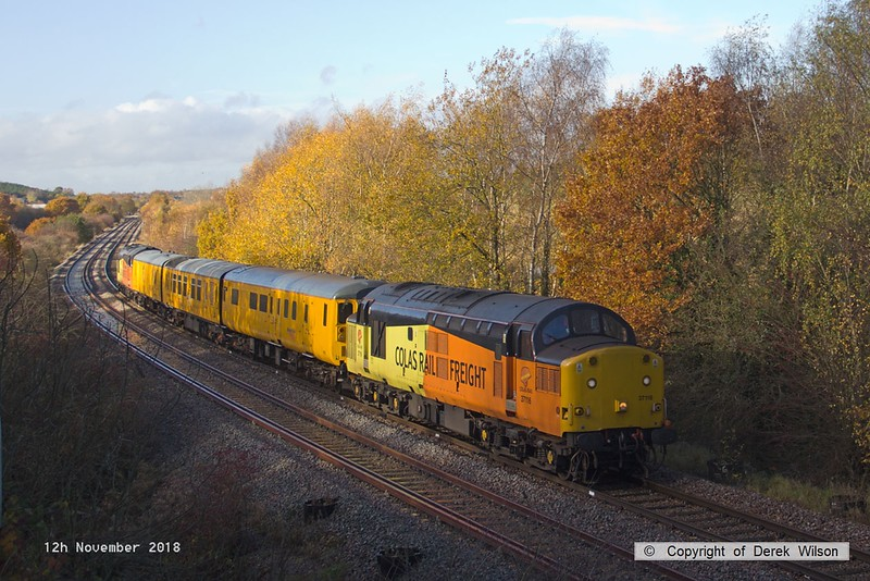 181112-003  A Network Rail test train powered 'top & tail' by 37116 & 37254 Cardiff Canton is captured near Boughton Junction, on the High Marnham Test Track, seen during calibrating. Of note is that the fishplates on the far line have been painted white, this is in preparation for a High Output Track Renewal Train that is expected to relay this section of track in January.