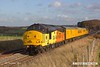 181112-015  Colas Rail Freoght class 37's No's 37254 Cardiff Canton & 37116 are captured passing the former Clipstone junctions, powering (top & tail) test train 3Z11, 15:00 High Marnham - Derby RTC.. Due to signalling problems the train had crawled to a halt, and is seen pulling away again after recieving permission to to pass signal at danger.