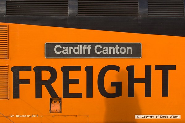 181112-019  Nameplate of Colas Rail Freight class 37 No.  37254 Cardiff Canton.