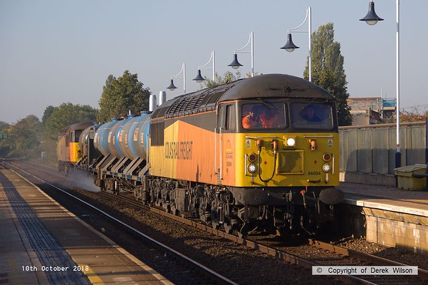 181010-002  RHTT 3J89, 05:00 Stapleford & Sandiacre - Toton T.M.D., captured passing through Mansfield with 56094 leading & 56090 at the rear.