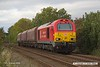 181003-008  DB Cargo class 67 No. 67028 passing Vale Road, Mansfield Woodhouse, powering train 4Z21, 16:16 Shirebrook, WH Davis - Toton North Yard. In tow are three HTA hoppers that were being returned to Toton, four were taken to Davis's but they only required one!!