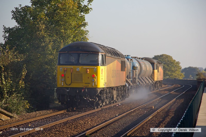 181010-005  RHTT 3J89, 05:00 Stapleford & Sandiacre - Toton T.M.D., captured passing through Mansfield with 56094 leading & 56090 at the rear.