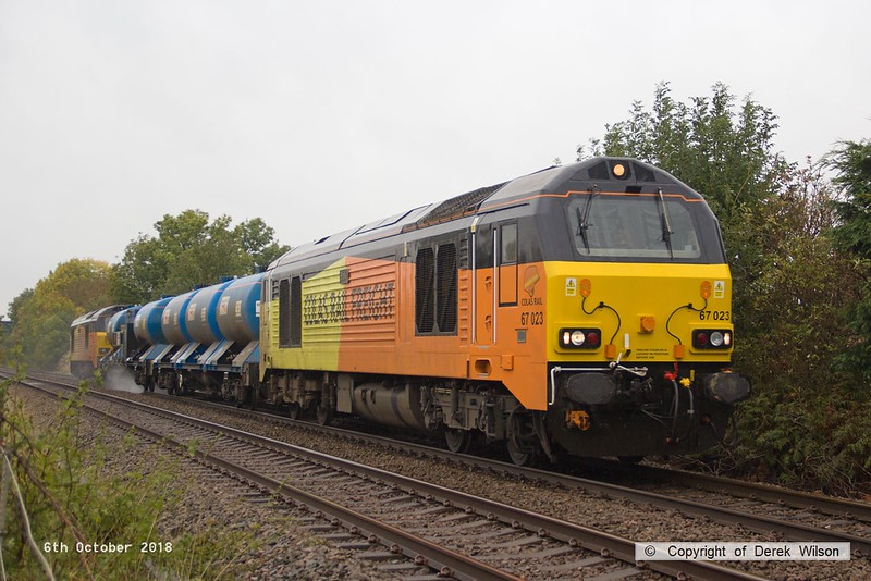 181006-008  Colas Rail Freight class 67's No's 67023 Stella & 67027 Charlotte are captured passing Vale Road, Mansfield Woodhouse, powering RHTT 3J89, 05:00 Stapleford & Sandiacre - Toton T.M.D.