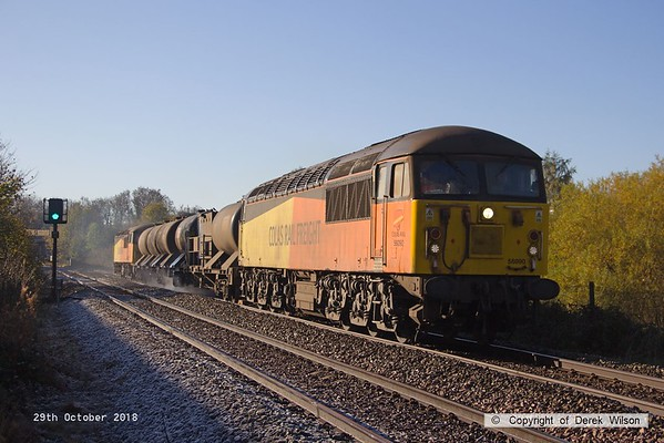 181029-005  Colas  Rail Freight class 56's No's 56090 & 56094 are captured near Sutton Parkway with RHTT 3J87, 00:50 Toton T.M.D - Toton T.M.D.