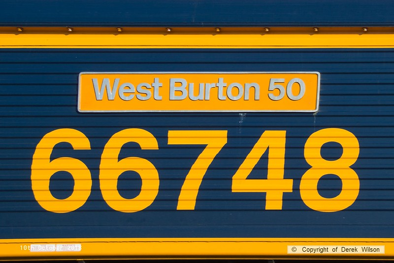 181010-016  Nameplate of GB Railfreight class 66/7 No. 66748, it was named 'West Burton 50' at West Burton Power Station on September 13. 2016, although the power station didn't start producing electricity until 1969!!