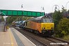 181006-004  Colas Rail Freight class 67's No's 67027 Charlotte & 67023 Stella are captured passing through Mansfield Woodhouse station, powering RHTT 3J89, 05:00 Stapleford & Sandiacre - Toton T.M.D.