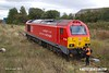181003-004  DB Cargo class 67 No. 67028 is seen at the end of Davis's headshunt at Shirebrook.