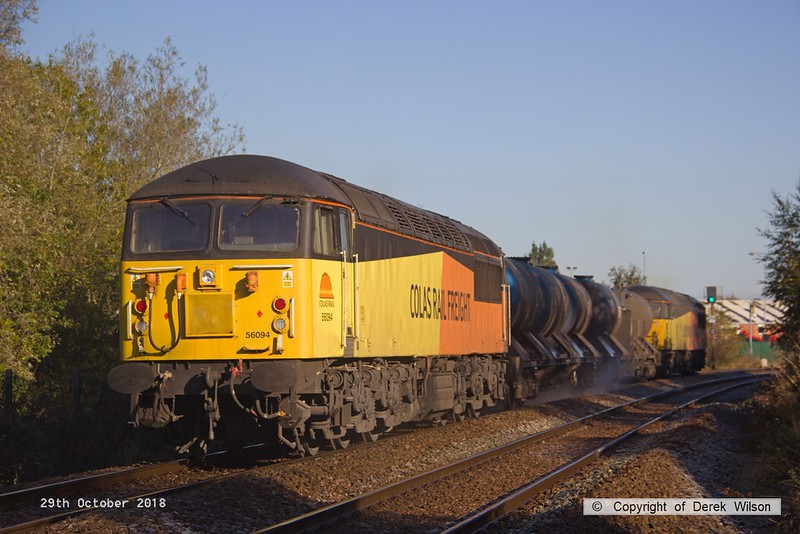 181029-006  Colas  Rail Freight class 56's No's 56090 & 56094 are captured near Sutton Parkway with RHTT 3J87, 00:50 Toton T.M.D - Toton T.M.D.