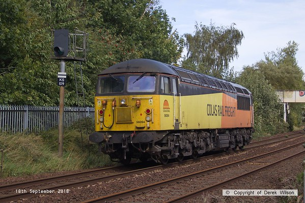 180918-006  Colas Rail Freight class 56 No. 56094 is captured approaching Princes Street footbridge with RHTT route learner 0Z22, 08:00 Barnetby sidings - Barnetby sidings.